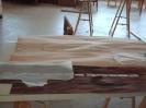 Kommode neue Deckplatte :: Zusammenfügen des neuen Furniers und Ausschneiden der Abgepausten Intarsien